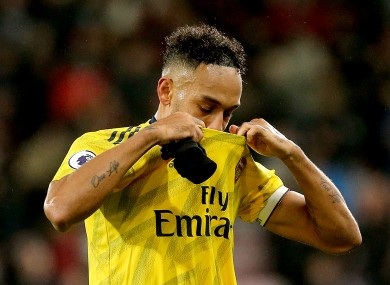 Arsenal's Pierre-Emerick Aubameyang after the final whistle.