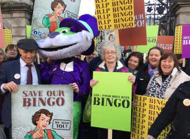 Michael Healy-Rae with bingo protesters at the Dail on Tuesday
