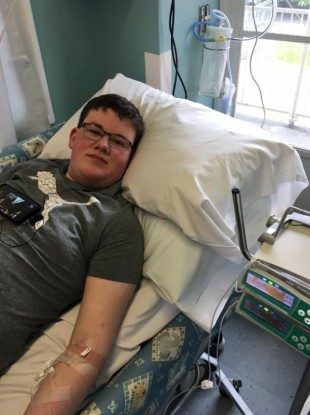 Conor Gavin pictured in Crumlin hospital receiving his pain infusion.