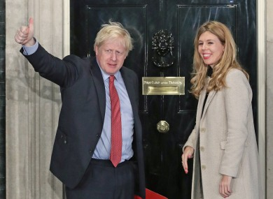Boris Johnson and his girlfriend Carrie Symonds arriving at Downing Street today.