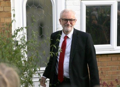 Jeremy Corbyn leaves his home in Islington, north London, this morning.