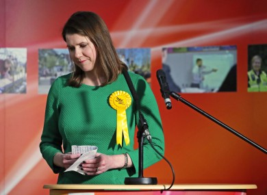 Swinson reacts as she loses her East Dumbartonshire constituency, during the count at the Leisuredome, Bishopbriggs.