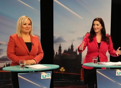 Sinn Féin deputy leader Michelle O'Neill (left) and DUP general election candidate Emma Little-Pengelly.