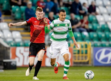 Drogheda United's Mark Doyle tangling with Graham Burke of Shamrock Rovers during the FAI Cup second-round meeting of the clubs in August.