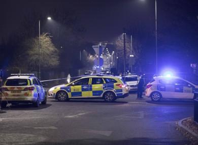 Police at the scene in Essex last night.