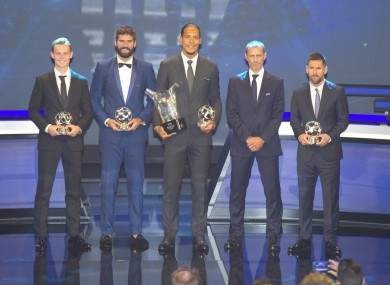 Frenkie de Jong, Alisson Becker, winner Virgil van Dijk, Uefa President Aleksander Ceferin and Lionel Messi at the Uefa Men's Player of the Year awards.