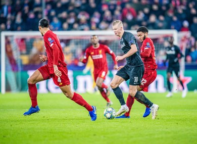 Erling Braut Haaland in action against Liverpool on Tuesday night.