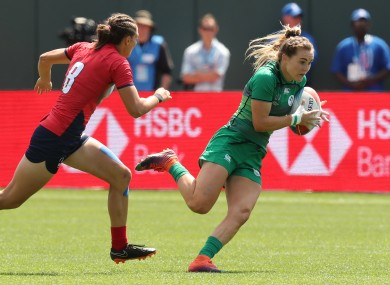 Aoife Doyle in action for the Ireland Women's Sevens last year.