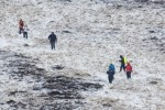 Hill walkers in the snow near the Wicklow Gap today.