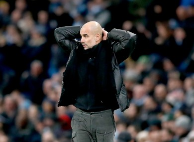 Pep Guardiola reacts during Saturday's defeat to Man United.