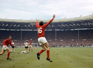 Peters celebrates scoring his side's second goal of the 1966 final.