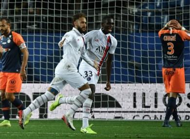 Neymar celebrates for PSG against Montpellier.