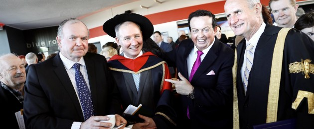 Dublin City University confers former Dublin GAA Manager Jim Gavin with an honorary doctorate at a special ceremony on its Glasnevin Campus. Picture shows l-r, Liam O'Neill former president of the GAA; former Dublin GAA Manager Jim Gavin; Marty Morrissey and Dr Martin McAleese, DCU Chancellor.