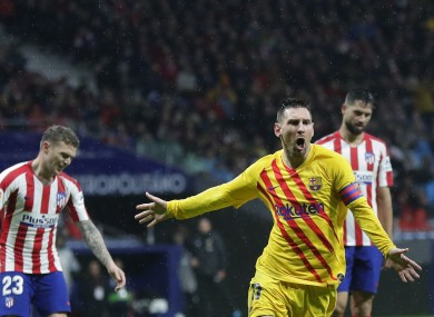 Messi celebrates what turned out to be the winner.