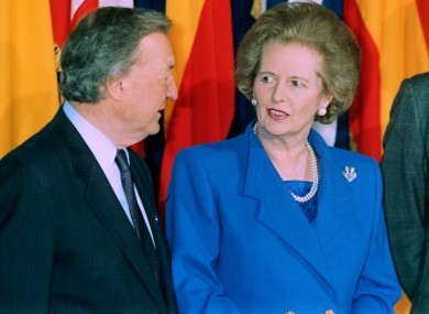 Huaghey and Thatcher in 1990.