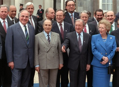 Leaders pose during an EU summit in Dublin in April 1990.