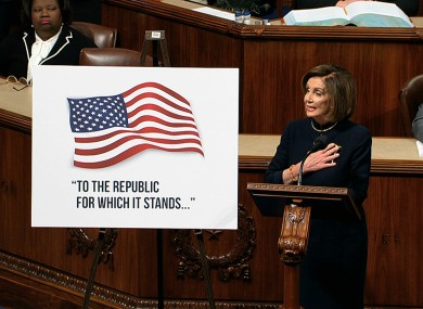 Speaker Nancy Pelosi speaks as the House of Representatives debates the articles of impeachment against Donald Trump