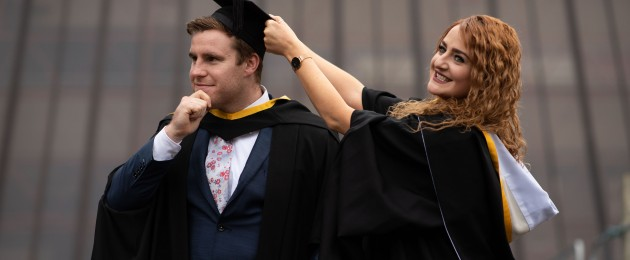 Liam Cronin and Rachael Creane at their conferring in the University of Limerick.