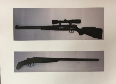 Photo supplied by gardaí of seized firearms