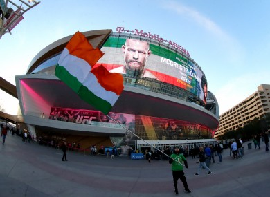 A Conor McGregor fan outside the T-Mobile Arena in Las Vegas.