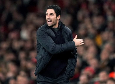 Arsenal manager Mikel Arteta during his side's win over Leeds.