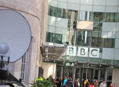 Media trucks outside BBC Broadcasting House in London