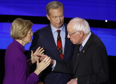 Democratic presidential candidates Warren and Bernie Sanders after the debate on Tuesday night