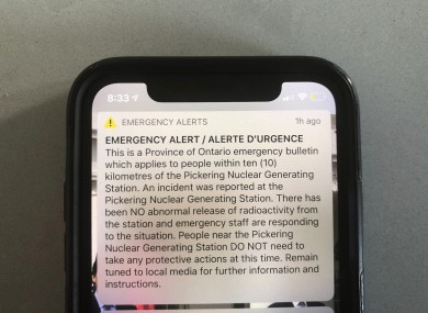The emergency alert sent out this morning.