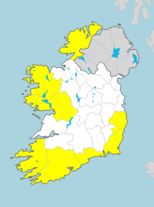 Status Yellow wind warnings are in place for eight counties this morning