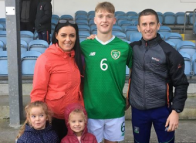 Cathal Heffernan with his parents and sisters.