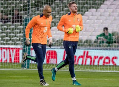 Ian Lawlor (right) warms up alongside Darren Randolph before Ireland's 2018 World Cup qualifier at home to Georgia.