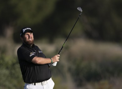 Shane Lowry in action in Dubai.