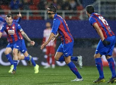 Esteban Burgos (C) opened the scoring against Atletico Madrid.