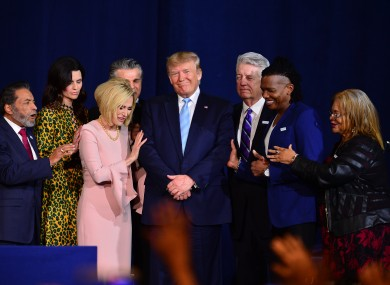 Christian leaders pray over US President Donald Trump.