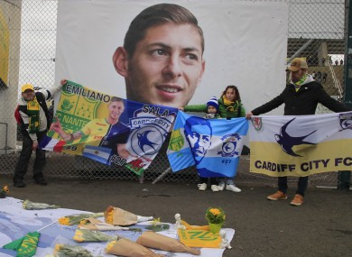 Supporters gather to pay tribute to Emiliano Sala prior the French Ligue 1 fixture between Nantes and Bordeaux at La Beaujoire.