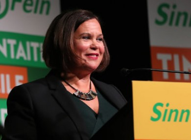 Mary Lou McDonald speaking at Sinn Fein's general election candidate launch in Dublin.