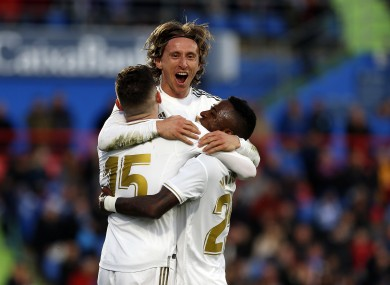 Luka Modric celebrates his goal for Real Madrid.