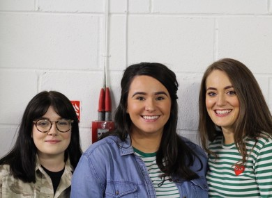 Erin Slaven (left), Orlaith Duffy (centre) and Mikaela McKinley (right) of the 'On the Ball' campaign.