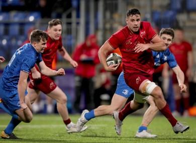 Jack O'Sullivan makes a break for Munster during an 'A' challenge match against Leinster in Donnybrook.