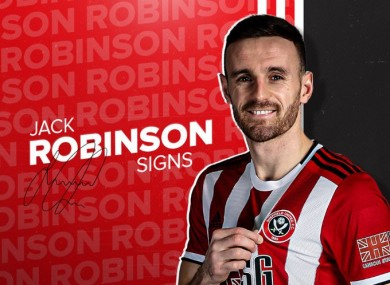 Robinson in the Sheffield United shirt.