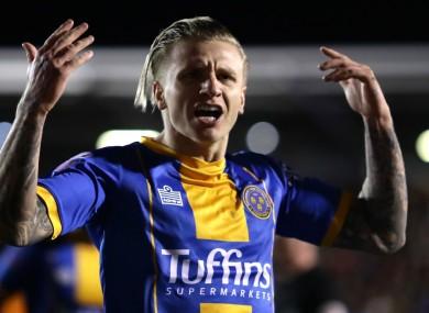 Jason Cummings celebrates for Shrewsbury