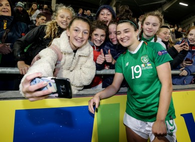 Keeva Keenan poses with fans after Ireland's Euro qualifier with Ukraine in October.