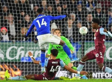 Leicester City's Kelechi Iheanacho scores against Aston Villa.