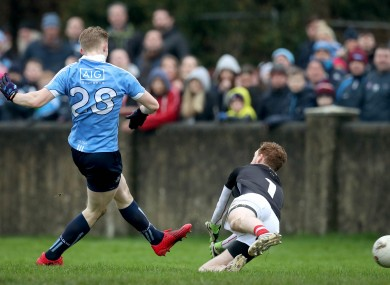 Killian O'Gara scores an O'Byrne Cup final goal versus Louth in 2017.