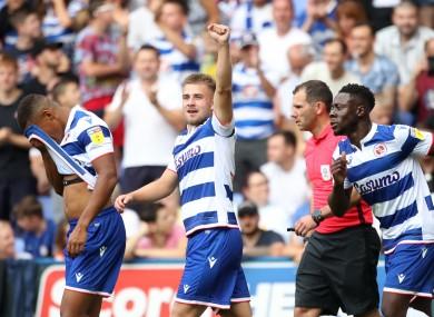 Josh Barrett celebrates after scoring for Reading in a pre-season friendly against Chelsea last July.
