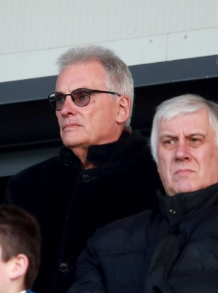 Former chairman Nigel Wray watches Saracens' clash with Racing 92.