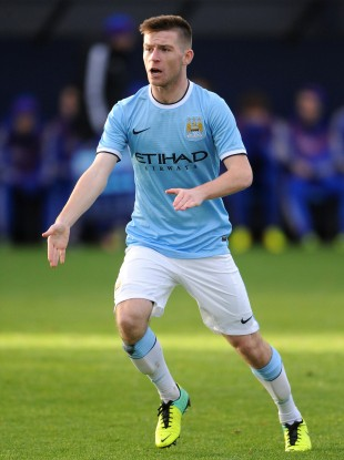 Seventeen-year-old Jack Byrne playing for Manchester City in the 2013 Uefa Youth League.