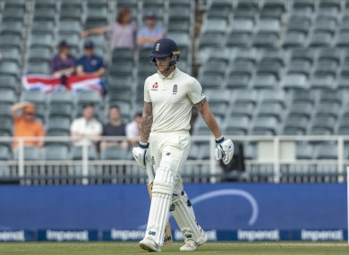 England's batsman Ben Stokes leaves the field after being dismissed by South Africa's bowler Anrich Nortje for 2 runs on day one of the fourth cricket test match between South Africa and England.