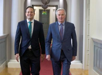 Leo Varadkar and Michel Barnier this morning.