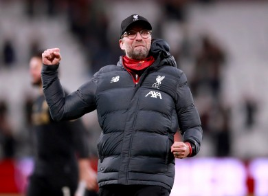 Liverpool manager Jurgen Klopp celebrates after the final whistle.